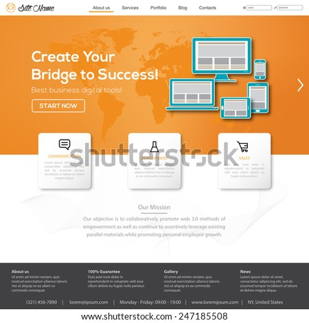 Website template, icons, header and other vector elements for your design. Digital tech web shop. - stock vector