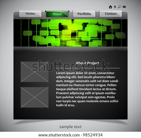 website template in black and green colors. Vector illustration. - stock vector