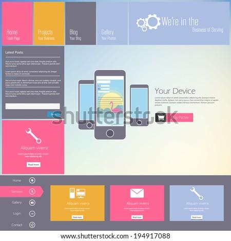Website template - modern flat design  - stock vector