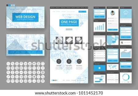 Website template one page design headers stock vector 1011452170 website template one page design headers and interface elements industrial blueprint backgrounds malvernweather Choice Image