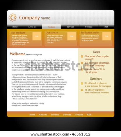 website template, orange design