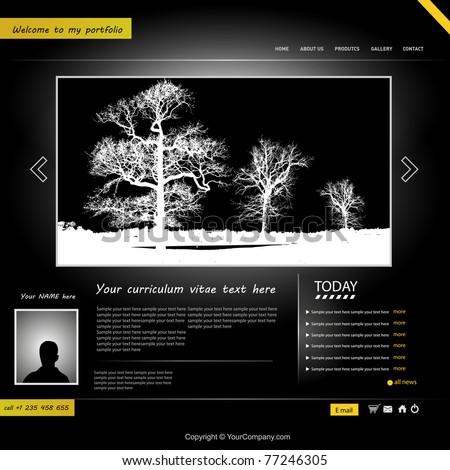 website template, personal portfolio - stock vector