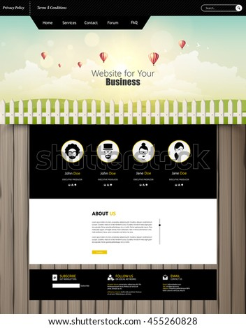 Website Template Vector Eps10, Modern Web Design with flat UI elements, and abstract cloudscape headline. Ideal for Business layout   - stock vector