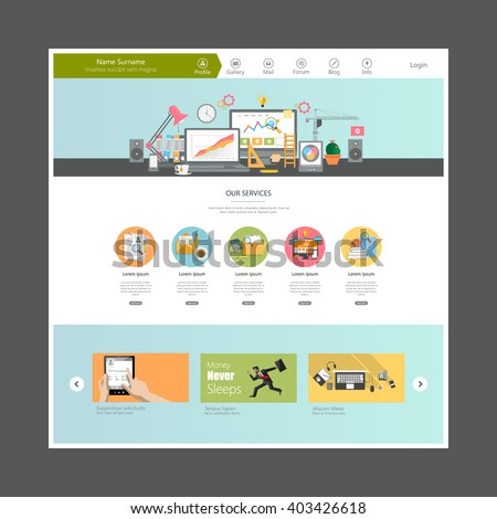 Website Template Vector Eps10, Modern Web Design with flat UI elements. Ideal for Business layout.  - stock vector