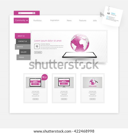 Website Template Vector Eps10, Modern Web Design with flat UI elements. Ideal for Business layout - stock vector