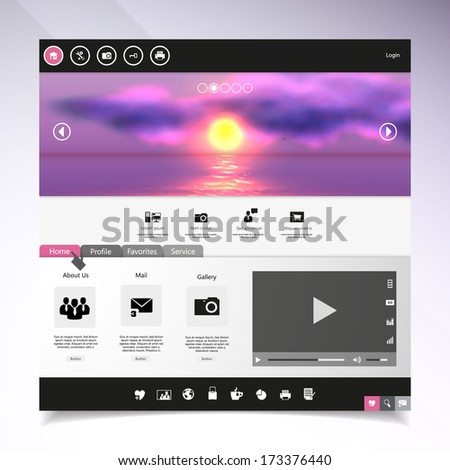 Website template Vector. with photorealistic sunrise, sea illustration. - stock vector