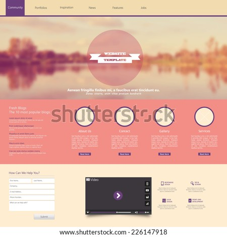 Website Template with a retro vintage instagram colors, filter, and blurred background