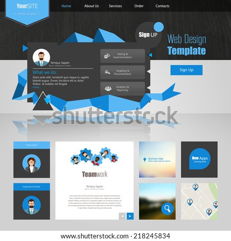 Website template with abstract elements - stock vector