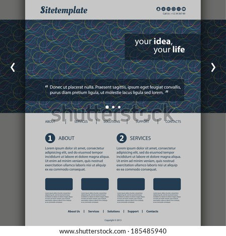 Website Template with Abstract Header Design - Circles - stock vector