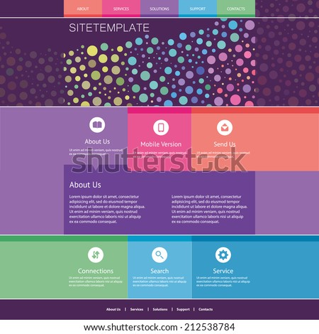 Website Template with Abstract Header Design - Colorful Dotted Pattern - stock vector