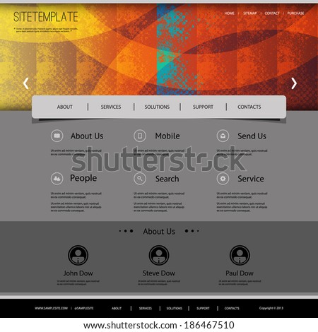 Website Template with Abstract Header Design - Colorful Grunge Pattern - stock vector