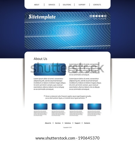 Website Template with Abstract Header Design - Wave Lines - stock vector
