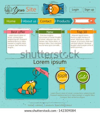 Website template with cartoon birds. Vector illustration EPS8 - stock vector