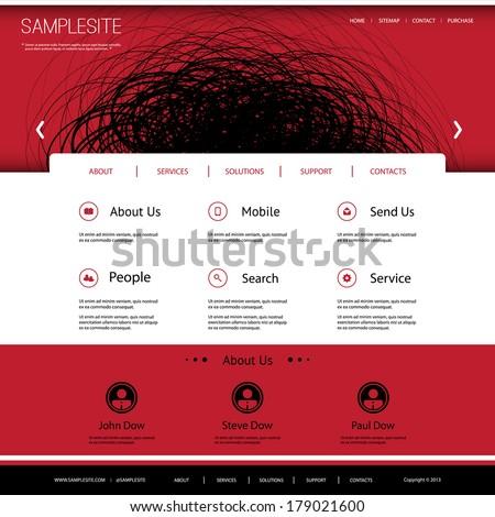 Website Template with Doodle Header Design - stock vector