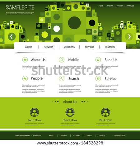 Website Template with Green Abstract Header Design - stock vector