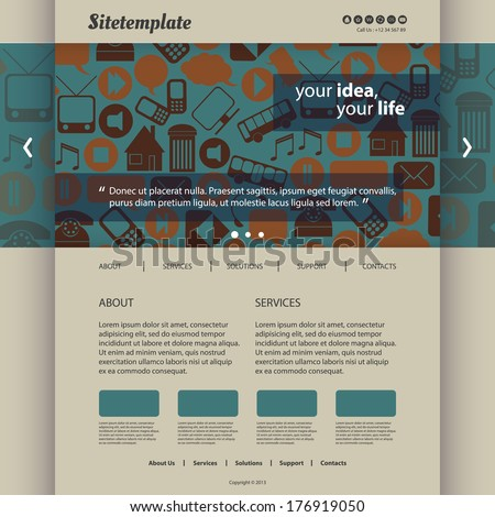 Website Template with Icons - stock vector