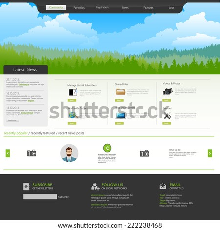 website template with Mountains, pine forest - stock vector