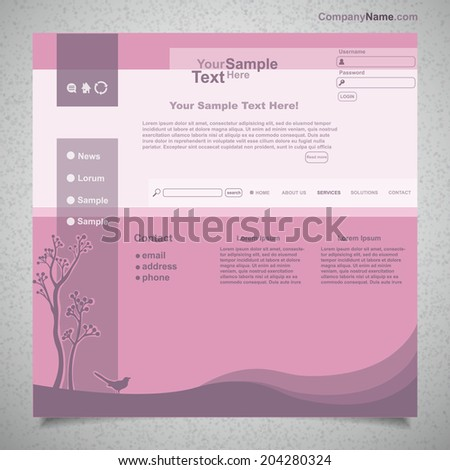 Website template with purple tree and bird, vector - stock vector