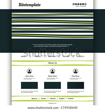 Website Template with Striped Header