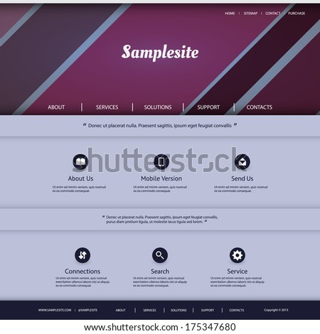 Website Template with Striped Header Design