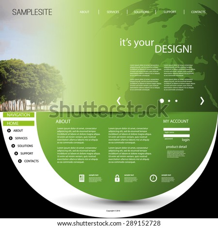 Website Template with Unique Design - stock vector