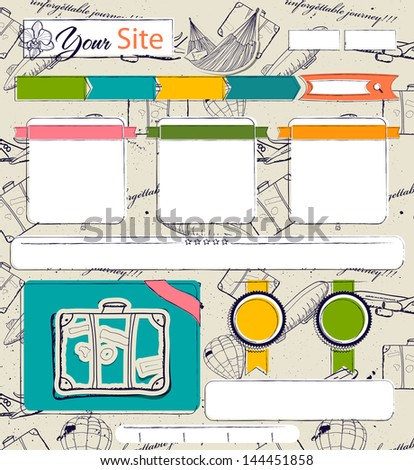 Website template with vintage elements. Seamless texture included as a swatch. Vector illustration EPS8 - stock vector