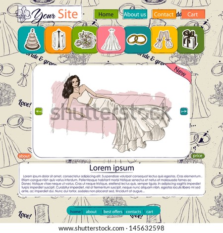 Website template with wedding elements. Seamless texture included. Vector illustration EPS10 - stock vector