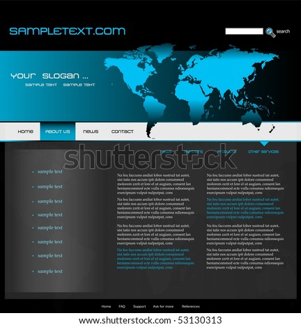 Website template with world map, easily editable, vector - stock vector