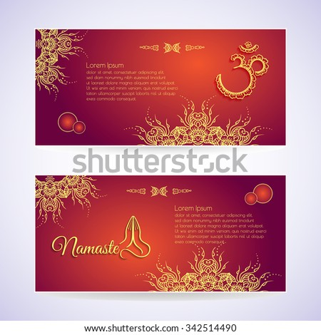 Website template yoga card floral henna stock vector 342514490 website template yoga card with floral henna mehendi design om aum namaste yoga studio or for reheart Images
