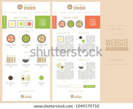 Website Templates Japanese Food Shop Good Stock Vector (Royalty Free ...