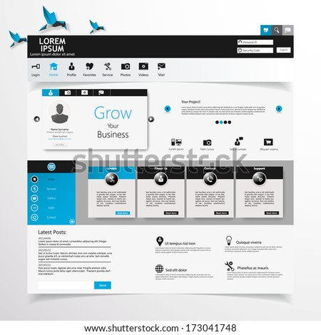 Website  UI  Elements Gray And Blue, Navigation Bar, Buttons, Slider, Message Box,  Menu, Login, Menu, Profile, Comment box, - stock vector