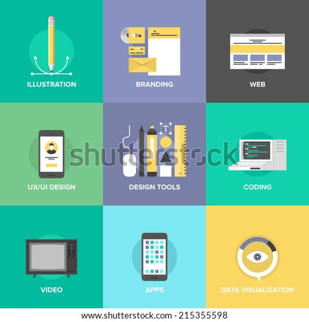 Website user interface design, web page coding and programming, mobile apps development, branding identity and data visualization. Flat design icons set modern vector illustration concept. - stock vector