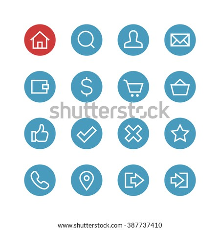 Website vector icon set - different symbols on a round blue background.