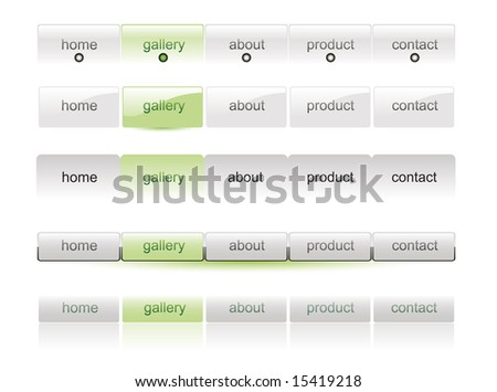 Website white buttons bars set template - stock vector