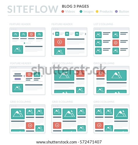 website wireframe layouts ui kits for site map and ux design - Wire Frame