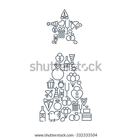 Wedding and happy birthday lined icons set on the white background in the form of christmas tree with star.  Vector Illustration, eps10, contains transparencies. - stock vector
