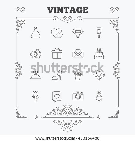 Wedding and party icons. Dress, diamond and rings. Gift box, invitatiom letter and rose flower. Speech bubble with heart and photo camera. Vintage ornament patterns. Decoration design elements. Vector - stock vector