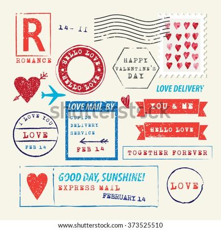 Wedding and Valentine's Day stamp set.Vector Illustration. Love symbols - stock vector