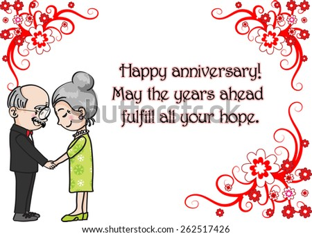 Wedding anniversary greeting card vector old stock vector royalty wedding anniversary greeting card vector with old people m4hsunfo