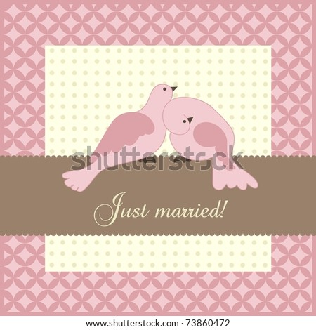 Wedding announcement with doves, vector - stock vector