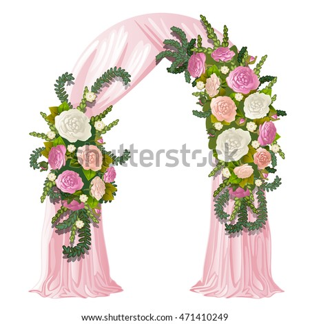 Wedding arch decorated pink curtain flower stock vector 471410249 wedding arch decorated with pink curtain and flower buds vector illustration junglespirit Choice Image