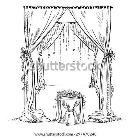 Wedding arch. Wedding altar. Decoration. Vector sketch. Design element.  - stock vector