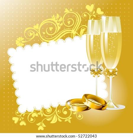 Wedding background in gold tone, vector - stock vector