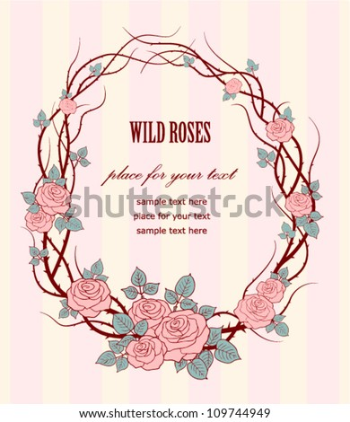 Wedding Background Vintage Frame With Wild Roses