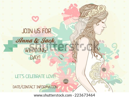 wedding banner with beautiful bride, vector illustration - stock vector