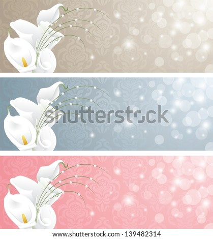 Wedding banners with calla lilies.  - stock vector