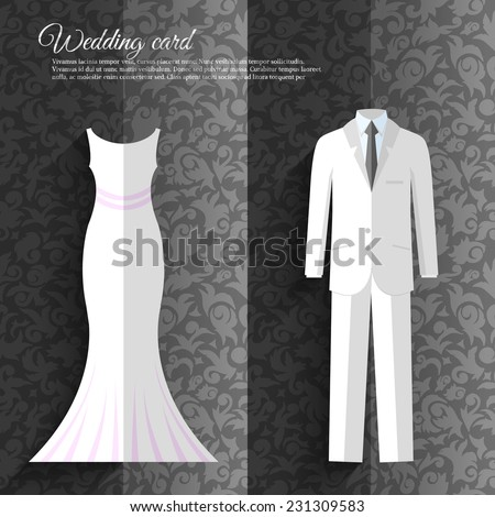 wedding beautiful suits clothing ornamental style card icon set background concept. Vector template for web and mobile design