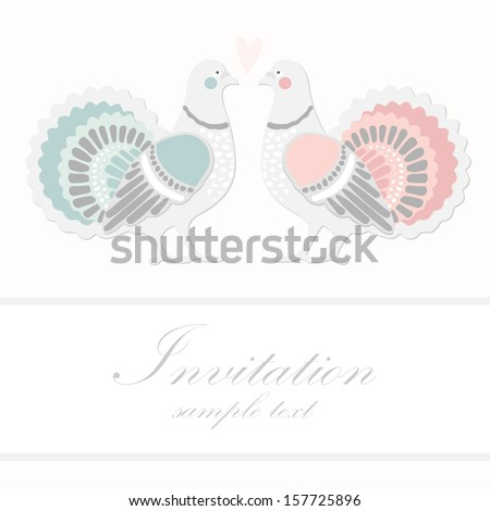 Wedding Birthday Card Invitation Dove Pigeon Stock Vector 157725896