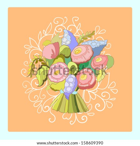 Wedding bouquet. Delicate lace and peach color. Vector illustration. - stock vector