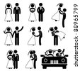 Wedding Bride Bridegroom Married Marry Marriage Car Icon Symbol Sign Pictogram - stock vector